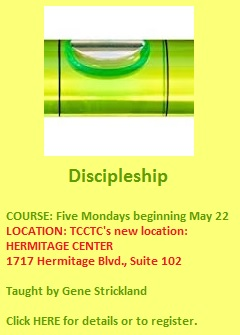 Discipleship - course beginning May 22 2017
