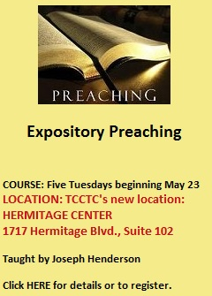 Expository-Preaching-course beginning May 23 2017