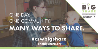 Join us for the Big Share on Tuesday, March 7th.