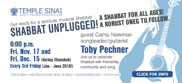 Get ready for a spiritual, musical Shabbat: Shabbat Unplugged! A shabbat for all ages! A robust oneg to follow. Click for information.