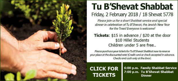 Tu B'Shevat Shabbat - Friday, February 2018 / 18 Shevat 5778 with 6:00 p.m. Family Shabbat Service and 7:00 p.m. Tu B'Shevat Dinner. Please join us for a short Shabbat service and special dinner in celebration of Tu B'Shevat, the Jewish New Year for the Trees! Everyone is welcome! Tickets: $15 in advance, $20 at the door, $10 Hillel students and children under 5 are free. Please purchase your tickets for Tu B'Shevat Shabbat now to reserve your place at the discounted rate! (Credit card or check accepted in advance. Checks and cash only at the door.) CLICK FOR TICKETS.