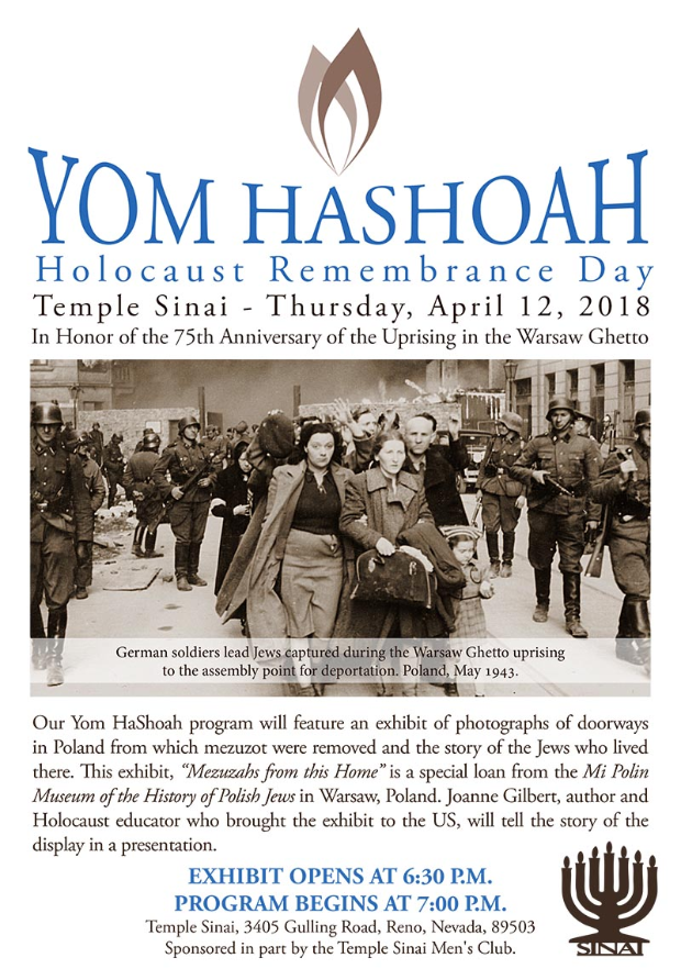 Yom HaShoah, Holocaust Remembrance Day at Temple Sinai on Thursday, April 12, 2018. Click for details.