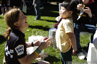 KB at the Revolution talking and laughing <br>     with a young girl